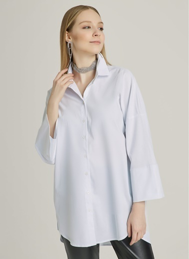 NGSTYLE Oversize Poplin Gömlek Beyaz